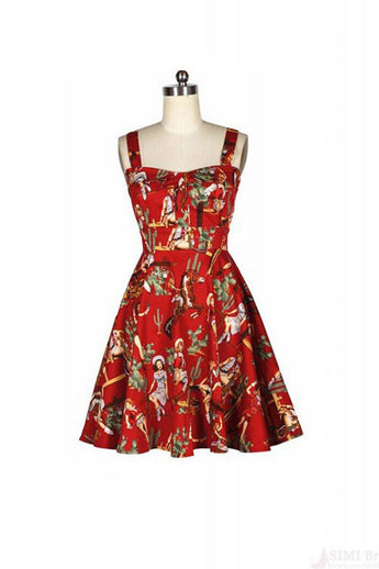Vintage Sweet Style Sleeveless Print Women's Dress SD21