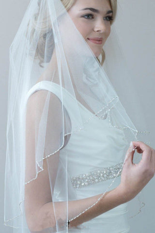 2 Tiers Beaded Wedding Veil with Blusher Fingertip, Beading Edge Bridal Veil V020