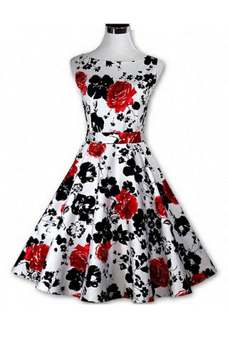 1950's Vintage Floral Print Women's Pleated Dress SD09
