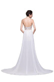 Lace Long Chiffon White Halter Open Back Prom Dresses SM7