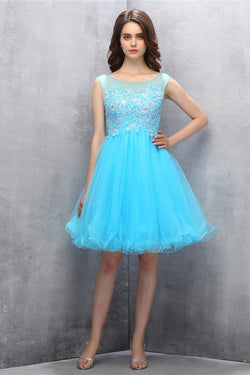 Knee-length Blue Organza Homecoming Dress with Appliques Sequins ED86