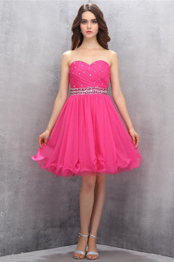 Sweetheart Chiffon Rose Beading Homecoming Dresses Prom Dresses ED87