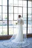 3D Flowers Towards Bottom Tulle Wedding Veil Cathedral Length, Romantic Bridal Veil V024