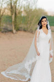 Ivory 3 Meters Long Tulle Wedding Veil with Lace Applique Edge, Hot Wedding Veils V023