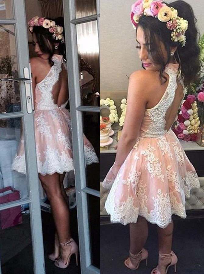 Elegant High Neck Homecoming Dress with White Lace,Sweet 16 Dress,Graduation Dress,N112