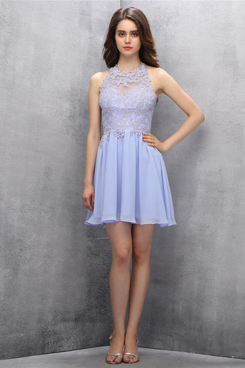 Lovely High Neck Chiffon Homecoming Dress With Beading ED89