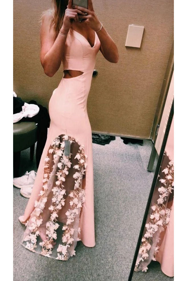 Unique Pink Spaghetti Straps Mermaid Prom Dress with Flowers N2483