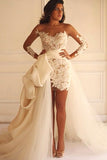 Sheath Bateau Detachable Long Illusion Sleeves Lace Wedding Dress N18