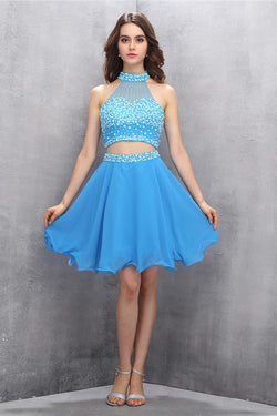 Two Piece Chiffon Blue Homecoming Dress With Beading ED92