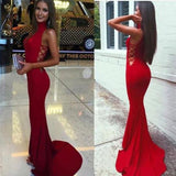 Mermaid High Neck Sleeveless Long  Spandex Prom Dresses 2017 N25