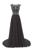 Elegant Backless Prom Dress,New Gorgeous with cap sleeves,Black Evening Dresses N26