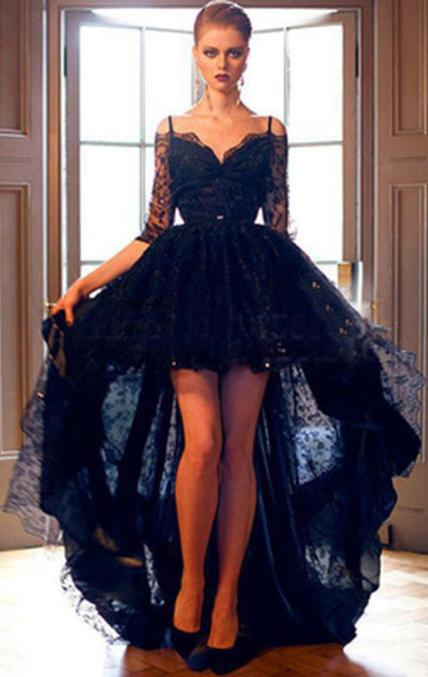 Elegant Black Lace High-low Half Sleeves Prom Dress Evening Dress N0003
