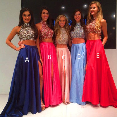 Two Pieces Pink Prom Dresses,Beading Formal Dresses,Taffeta Graduation Dresses N38