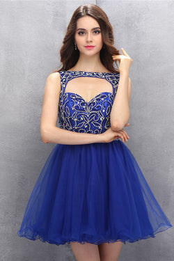 Royal Blue Organza Homecoming/Prom Dresses With Beading  ED74