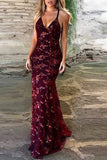 Spaghetti Straps V-neck Mermaid Sparkly Tulle Evening Dress,Long Prom Gowns,N476