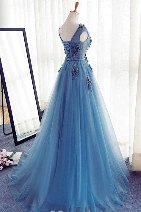 Appliques A-Line Sleeveless Ice Blue Tulle Prom Dresses Long,Evening Dresses,N320