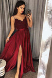 Jade Spaghetti Straps V neck Split Prom Dress with Lace,Maxi High Split Evening Gowns,N757