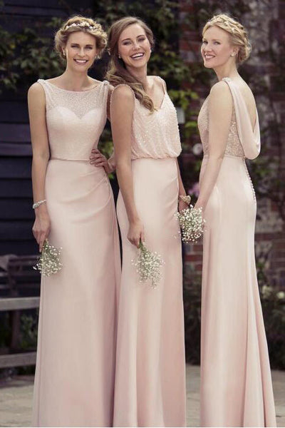 A-line/Princess Long Prom Dresses,Sexy Chiffon Bridesmaid Dresses,Long Prom Dress,N727