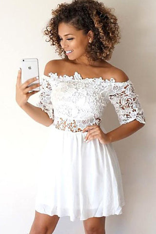8b0b9852b539 White A-Line Chiffon With Lace Applique Off-the-Shoulder Short Homecoming  Dresses N1888 – Simibridaldress