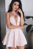 A-Line Cross Neck Short Pink Homecoming Dress with Keyhole, Sexy Short Prom Dress N1022