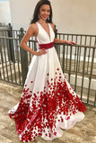 A-Line Deep V-Neck Floral Satin Prom Dress with Beading, Sweep Train Evening Dress N1234
