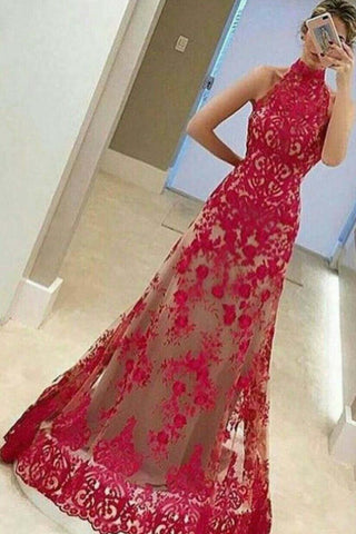 Fashion Cheap A-Line High Neck Sleeveless Floor-Length Red Lace Prom Dress,N655