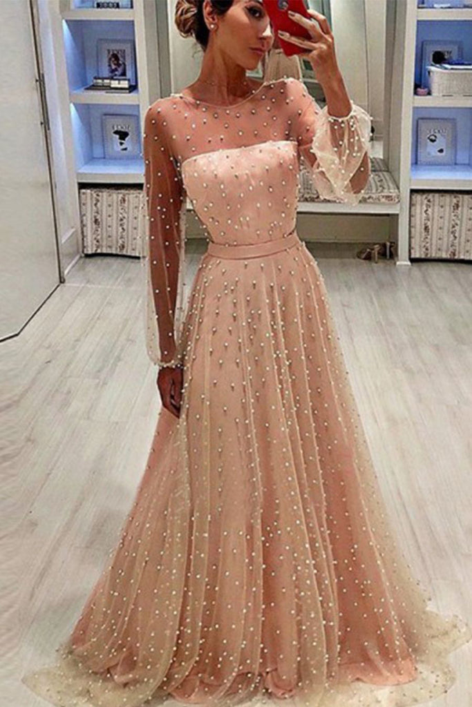 A-Line Jewel Long Sleeves Pearl Pink Long Prom Dress with Pearls, Unique Formal Dress N1744