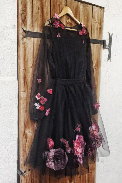 A Line Long Sleeves Black Homecoming Dress with Flowers, Cute Tulle Short Prom Dress N1858