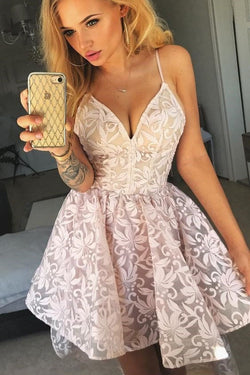 A-Line Spaghetti Straps Pink Lace Homecoming Dress, Short Lace Formal Dresses N1924