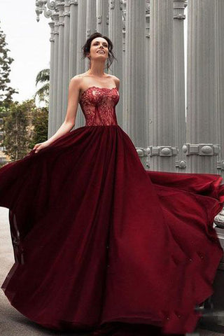 A-Line Strapless Burgundy Long Prom Dress With Lace,Charming Evening Dress,N721
