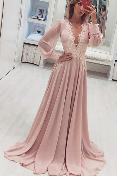 A-Line Deep V-Neck Long Pink Prom Dress with Appliques Long Sleeves N1431