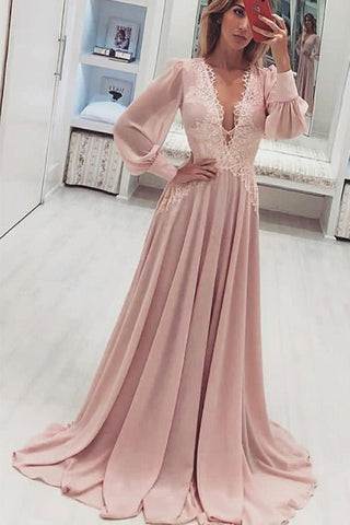 ece3587a66c A-Line Deep V-Neck Long Pink Prom Dress with Appliques Long Sleeves N1431 –  Simibridaldress