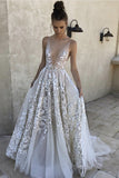 Sexy A Line Deep V-Neck Ivory Tulle Long Prom Dress with Appliques V-Back,N689