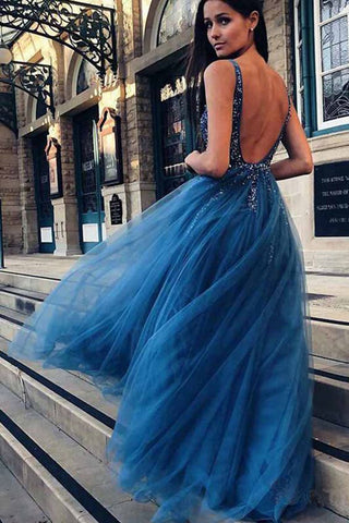 39b11087bc4 A-Line V-Neck Tulle Backless Prom Dress with Sequins Beading