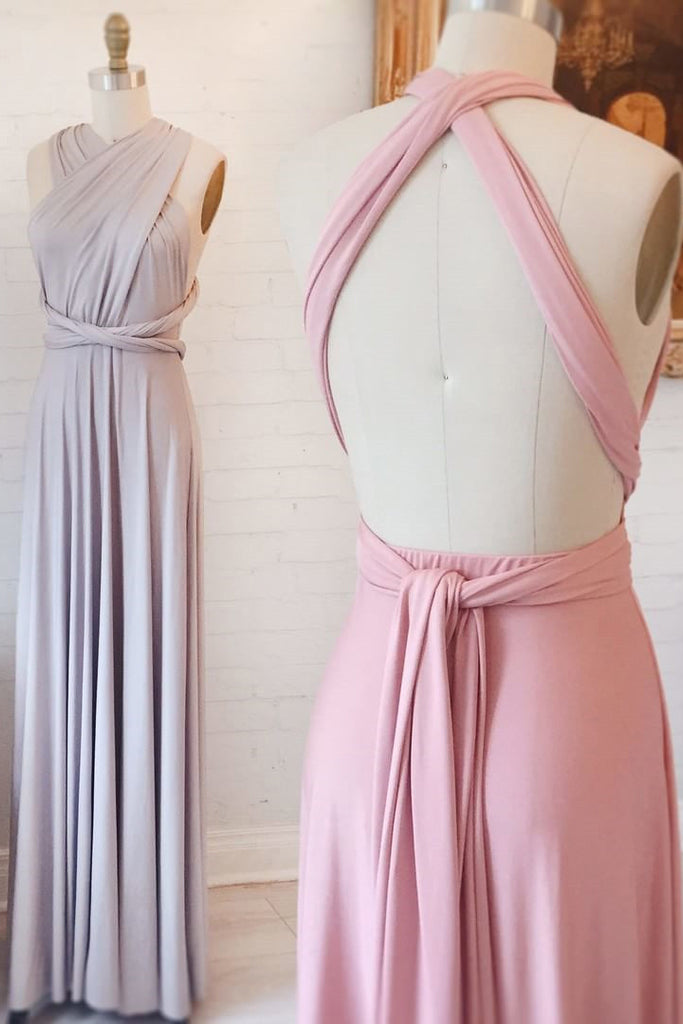Unique Open Back Column Sleeveless Ruched Long Bridesmaid Dress, Prom Dress, N788