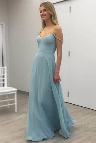 A-line V-neck Floor-length Chiffon Prom Dresses with Beading, Straps Evening Dresses N1369