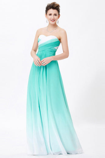 A-line Sweetheart Sleeveless Chiffon Ombre Bridesmaid Dress,Long Prom Gowns,N664