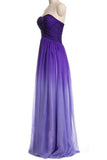Ombre Purple Gradient Chiffon Bridesmaid Dresses Sweetheart Pleats Long Prom Dress,N668