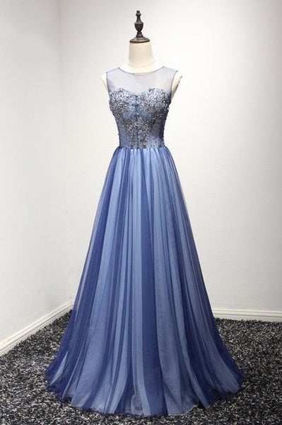 New Arrival A Line Cheap Sheer Neck Prom Dress with Rhinestones, Long Tulle Party Dress N1750