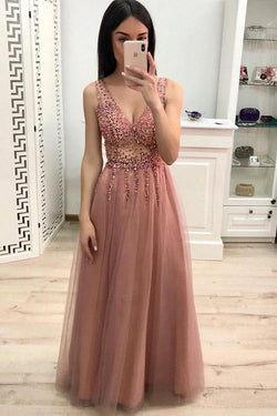 Sparkly A Line V Neck Floor Length Prom Dress with Beading and Sequins, Long Party Dress