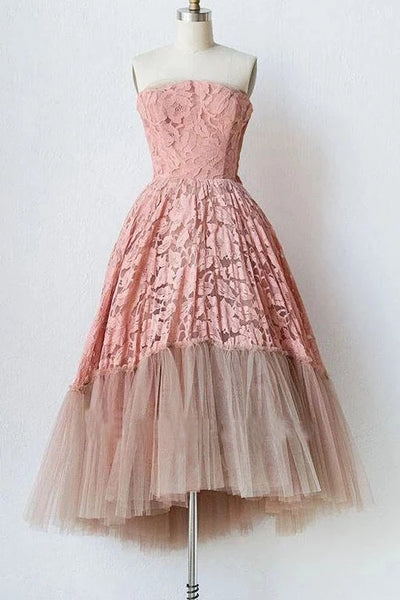 Pink Lace Strapless Tulle Short Prom Dresses, Unique Tulle Homecoming Dresses N1991