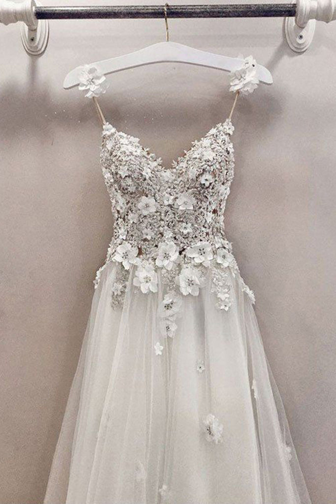 A Line Spaghetti Straps Cute V Neck Floor Length Tulle Prom Dress with Flowers N815