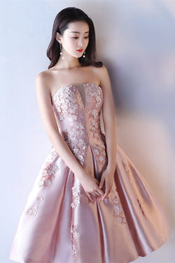 Pink A Line Strapless Applique Knee Length Homecoming Dress, Short Prom Dresses N1950