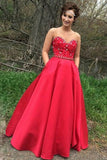 A Line Sweetheart Satin Prom Dress with Beading, Floor Length Strapless Formal Dress