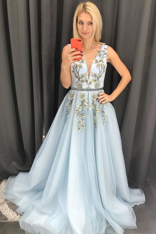 Baby Blue Tulle V Neck Long Prom Dress A Line Sleeveless Appliques Evening Dress N2628