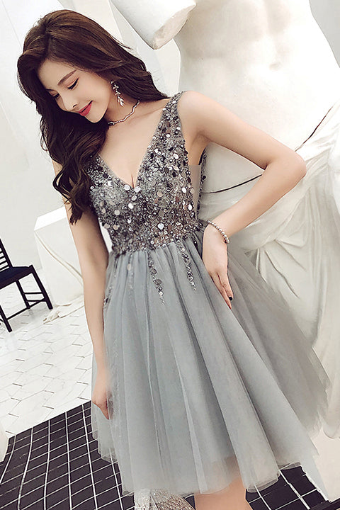 Gray Sparkly V Neck Sleeveless Tulle Homecoming Dress with Sequins, A Line Short Prom Dress N2015