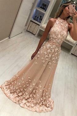 Modest High Neck Champagne Sleeveless Sweep Train Prom Evening Dresses with Appliques N1686