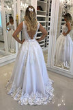 A-Line V-Neck White Sleeveless Backless Tulle Long Prom Dress with Appliques,N488