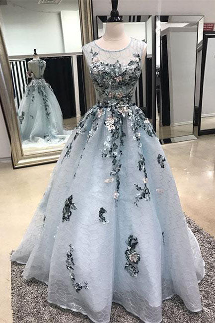 A-line Sleeveless Lace Long Prom Dress with Appliques,Sweep Train Formal Dresses,N676