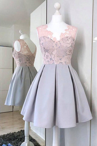 A-Line V-Neck Satin Homecoming Dress with Lace, Simple Sleeveless Graduation Dress N1098
